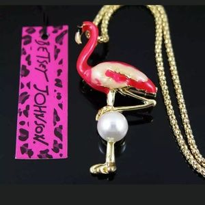 New Betsey Johnson flamingo brooch/necklace